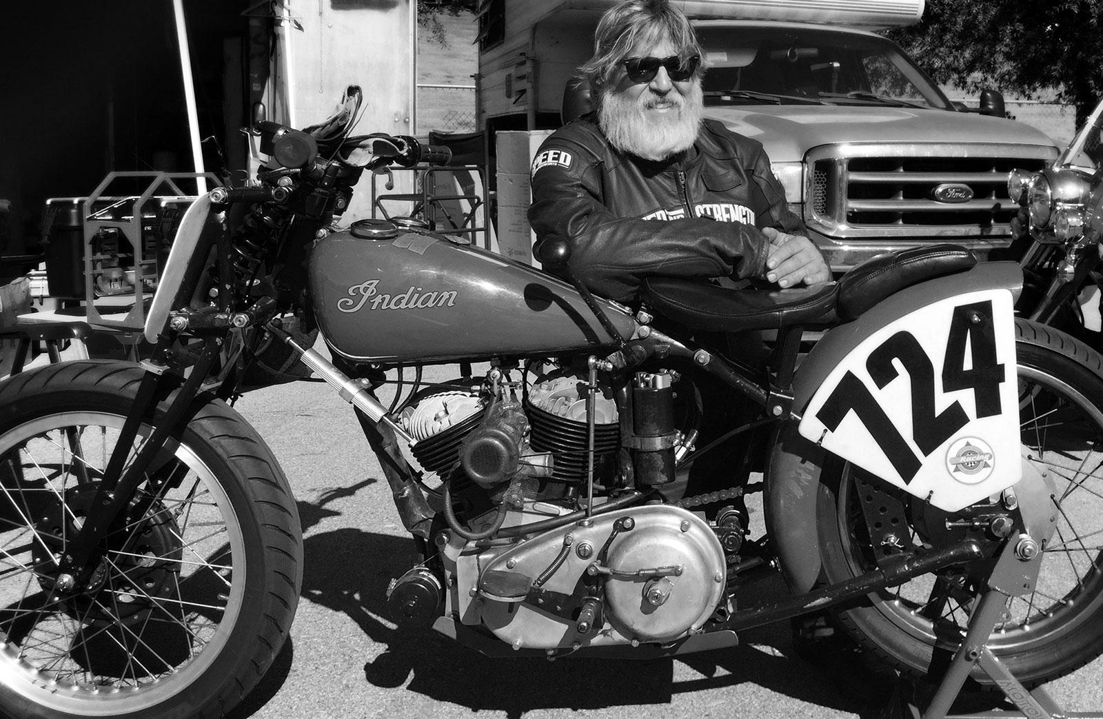 Scott Olofson poses with indian motorcycle